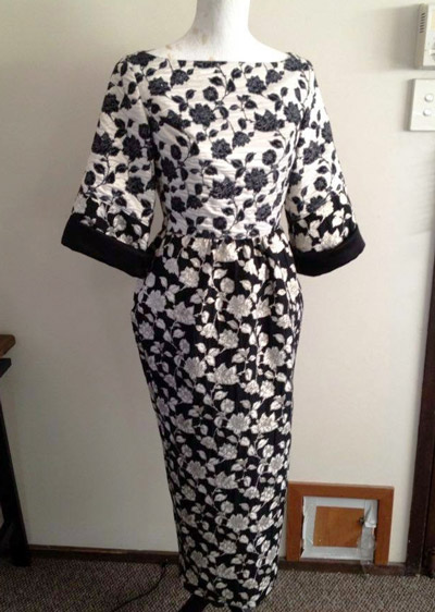 black and white dress with high neckline