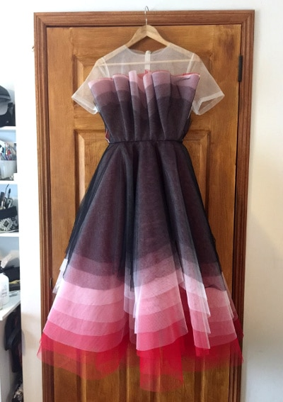 Purple and pink full tulle dress