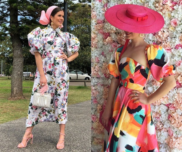 floral and water colour print race dress with matching belts